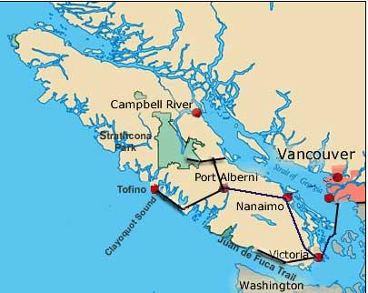 Karte zu Vancouver Islands Strände & Gletscher - Wanderreise