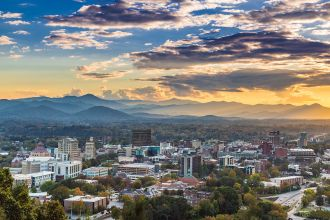 NC/Asheville/Downtown at Sunset